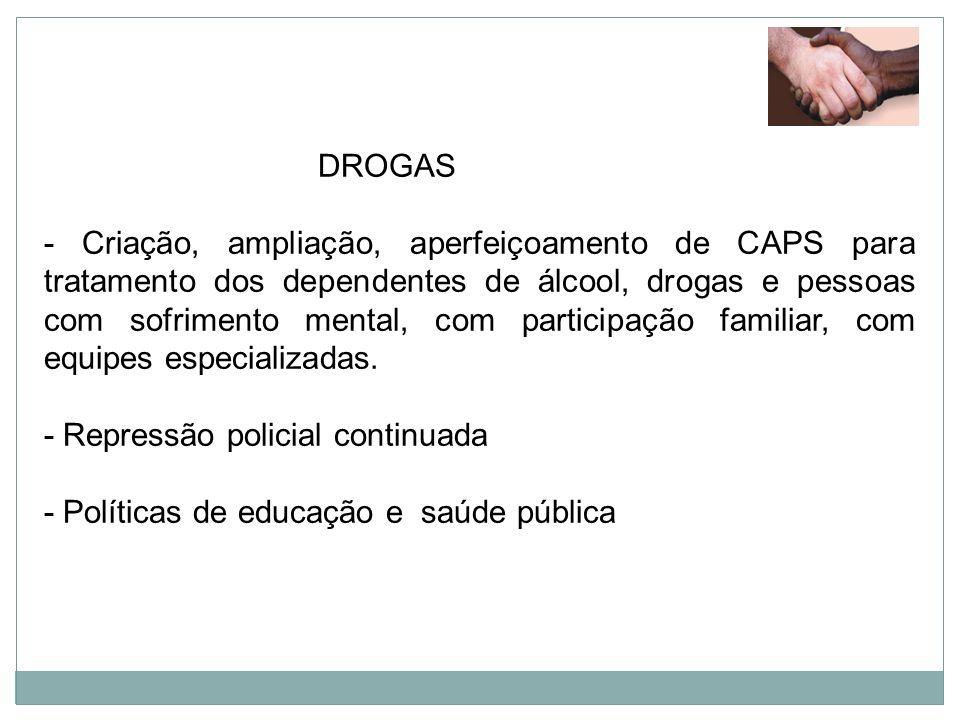 DROGAS - Criação, ampliação, aperfeiçoamento de CAPS para tratamento dos dependentes de álcool, drogas e pessoas com sofrimento mental, com participaç