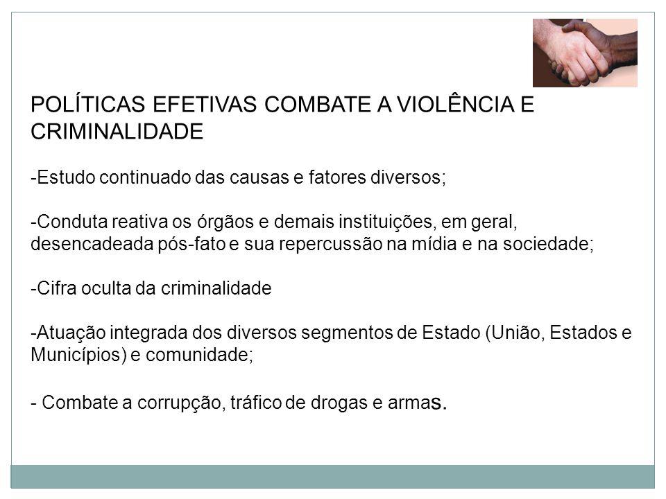 POLÍTICAS EFETIVAS COMBATE A VIOLÊNCIA E CRIMINALIDADE -Estudo continuado das causas e fatores diversos; -Conduta reativa os órgãos e demais instituiç