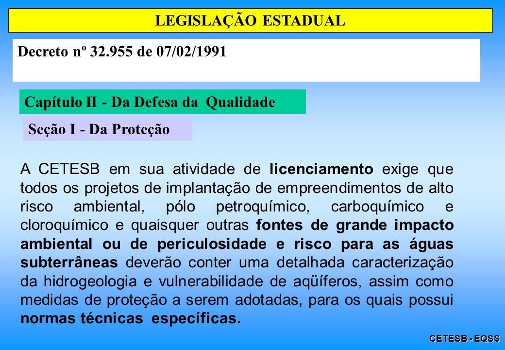 CETESB - EQSS Capítulo II - Da Defesa da Qualidade Seção I - Da Proteção LEGISLAÇÃO ESTADUAL Decreto nº 32.955 de 07/02/1991 A CETESB em sua atividade