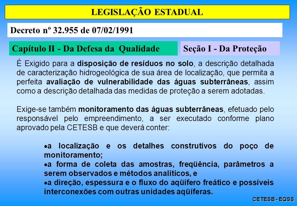 CETESB - EQSS Capítulo II - Da Defesa da QualidadeSeção I - Da Proteção LEGISLAÇÃO ESTADUAL Decreto nº 32.955 de 07/02/1991 É Exigido para a disposiçã