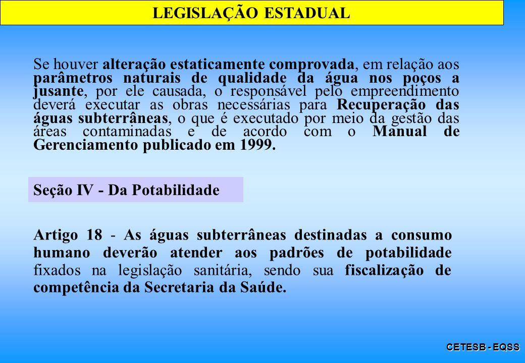 CETESB - EQSS Seção IV - Da Potabilidade LEGISLAÇÃO ESTADUAL Artigo 18 - As águas subterrâneas destinadas a consumo humano deverão atender aos padrões
