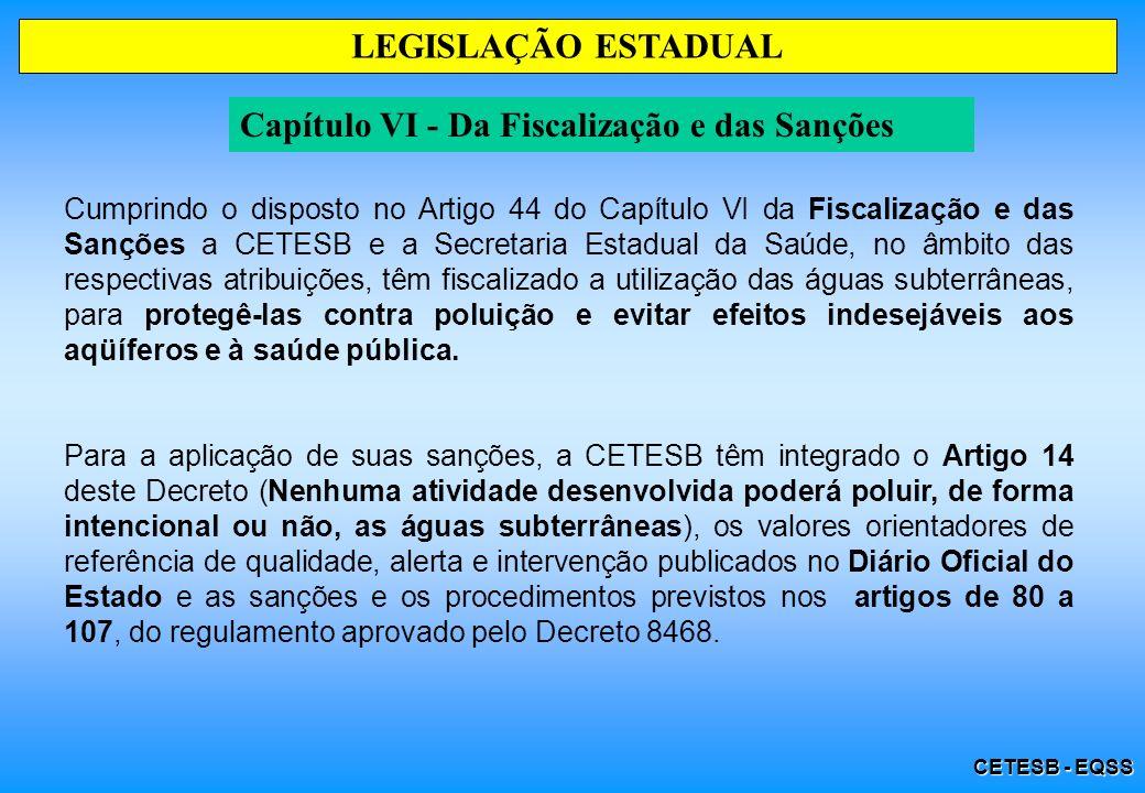 CETESB - EQSS LEGISLAÇÃO ESTADUAL Capítulo VI - Da Fiscalização e das Sanções Cumprindo o disposto no Artigo 44 do Capítulo VI da Fiscalização e das S