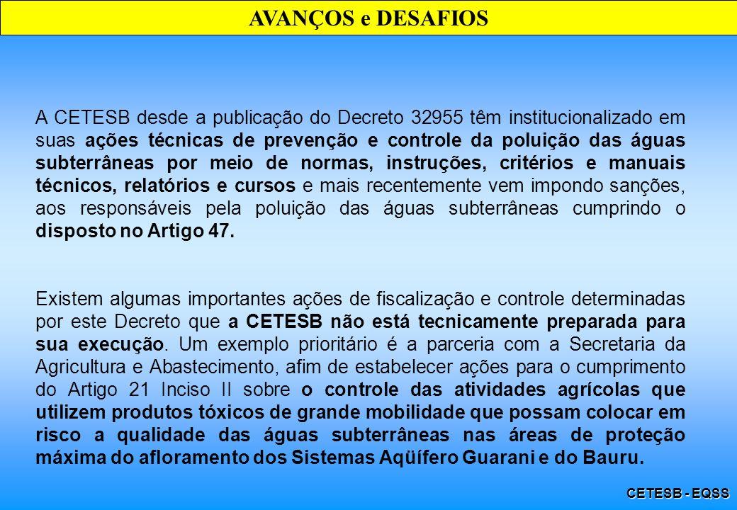 CETESB - EQSS AVANÇOS e DESAFIOS A CETESB desde a publicação do Decreto 32955 têm institucionalizado em suas ações técnicas de prevenção e controle da