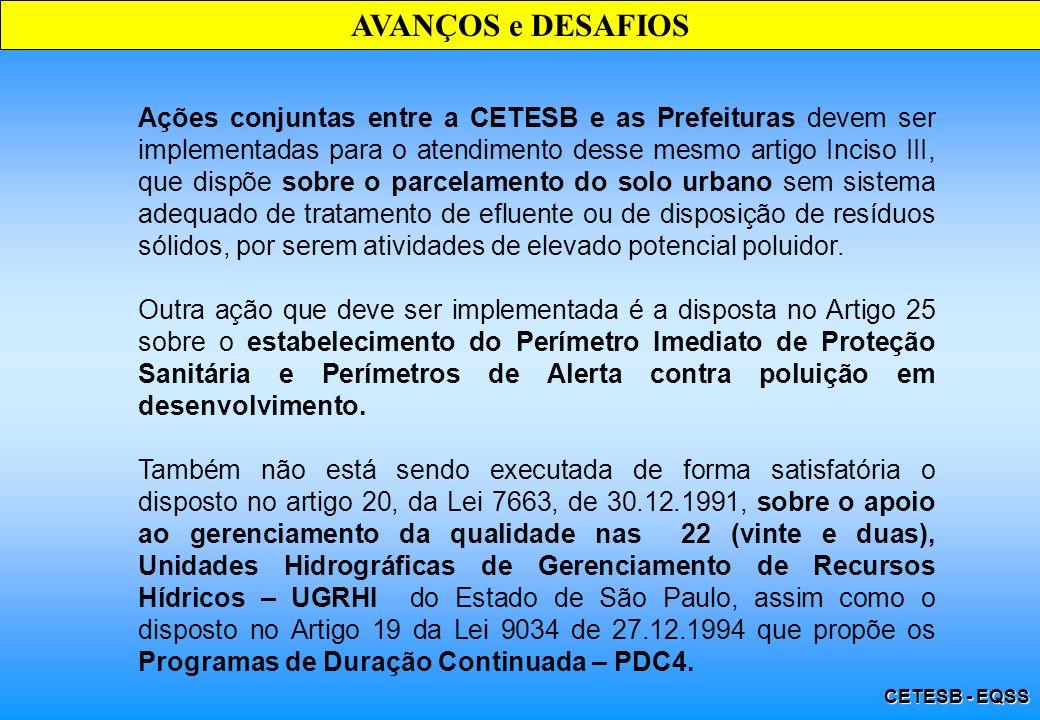 CETESB - EQSS AVANÇOS e DESAFIOS Ações conjuntas entre a CETESB e as Prefeituras devem ser implementadas para o atendimento desse mesmo artigo Inciso