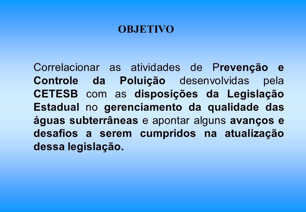 Correlacionar as atividades de Prevenção e Controle da Poluição desenvolvidas pela CETESB com as disposições da Legislação Estadual no gerenciamento d