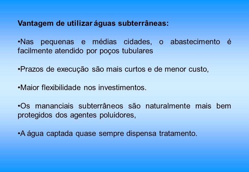 Vantagem de utilizar águas subterrâneas: Nas pequenas e médias cidades, o abastecimento é facilmente atendido por poços tubulares Prazos de execução s