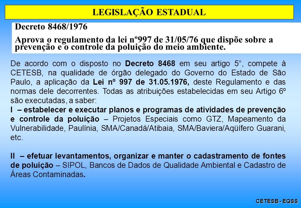 CETESB - EQSS LEGISLAÇÃO ESTADUAL Decreto 8468/1976 Aprova o regulamento da lei nº997 de 31/05/76 que dispõe sobre a prevenção e o controle da poluição do meio ambiente.