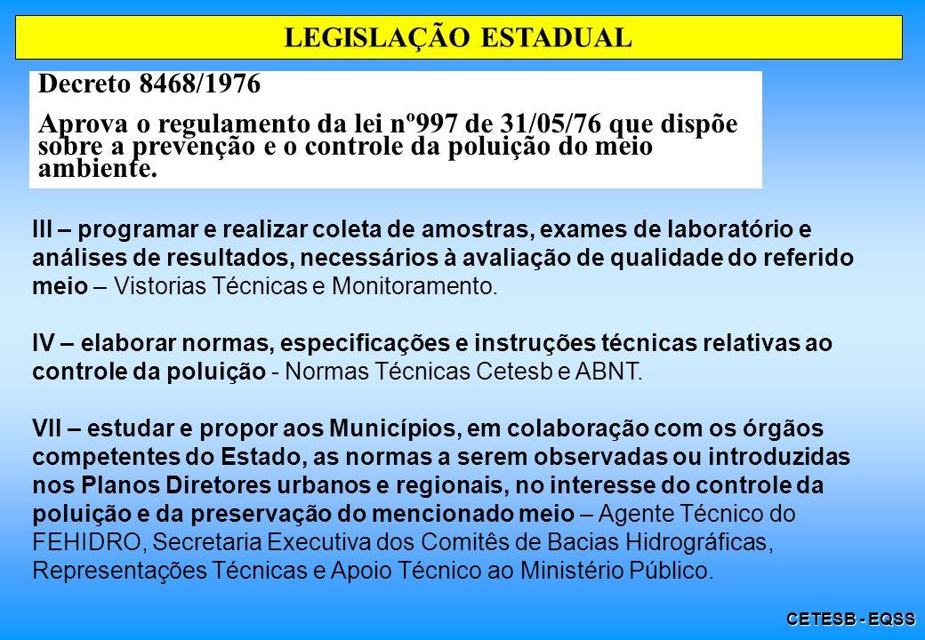 CETESB - EQSS LEGISLAÇÃO ESTADUAL Decreto 8468/1976 Aprova o regulamento da lei nº997 de 31/05/76 que dispõe sobre a prevenção e o controle da poluiçã