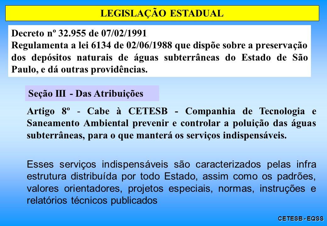 CETESB - EQSS Decreto nº 32.955 de 07/02/1991 LEGISLAÇÃO ESTADUAL O Artigo 3° dispõe que as águas subterrâneas terão programa permanente de conservação e proteção, visando o seu melhor aproveitamento.