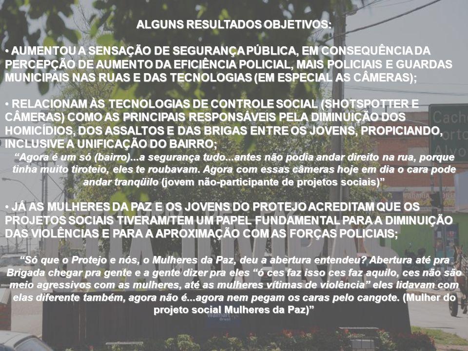 ALGUNS RESULTADOS OBJETIVOS: AUMENTOU A SENSAÇÃO DE SEGURANÇA PÚBLICA, EM CONSEQUÊNCIA DA PERCEPÇÃO DE AUMENTO DA EFICIÊNCIA POLICIAL, MAIS POLICIAIS