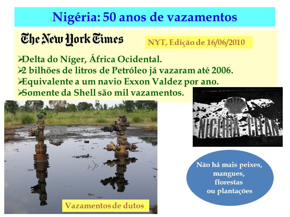 Delta do Níger, África Ocidental. 2 bilhões de litros de Petróleo já vazaram até 2006. Equivalente a um navio Exxon Valdez por ano. Somente da Shell s
