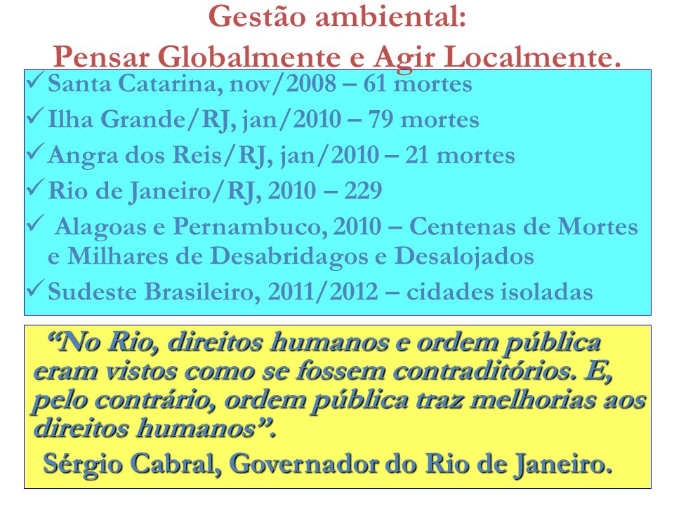 Santa Catarina, nov/2008 – 61 mortes Ilha Grande/RJ, jan/2010 – 79 mortes Angra dos Reis/RJ, jan/2010 – 21 mortes Rio de Janeiro/RJ, 2010 – 229 Alagoa