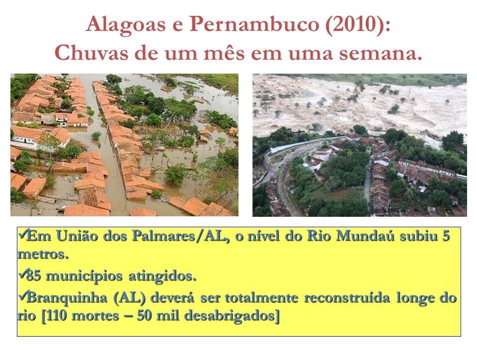 Alagoas e Pernambuco (2010): Chuvas de um mês em uma semana. Em União dos Palmares/AL, o nível do Rio Mundaú subiu 5 metros. Em União dos Palmares/AL,
