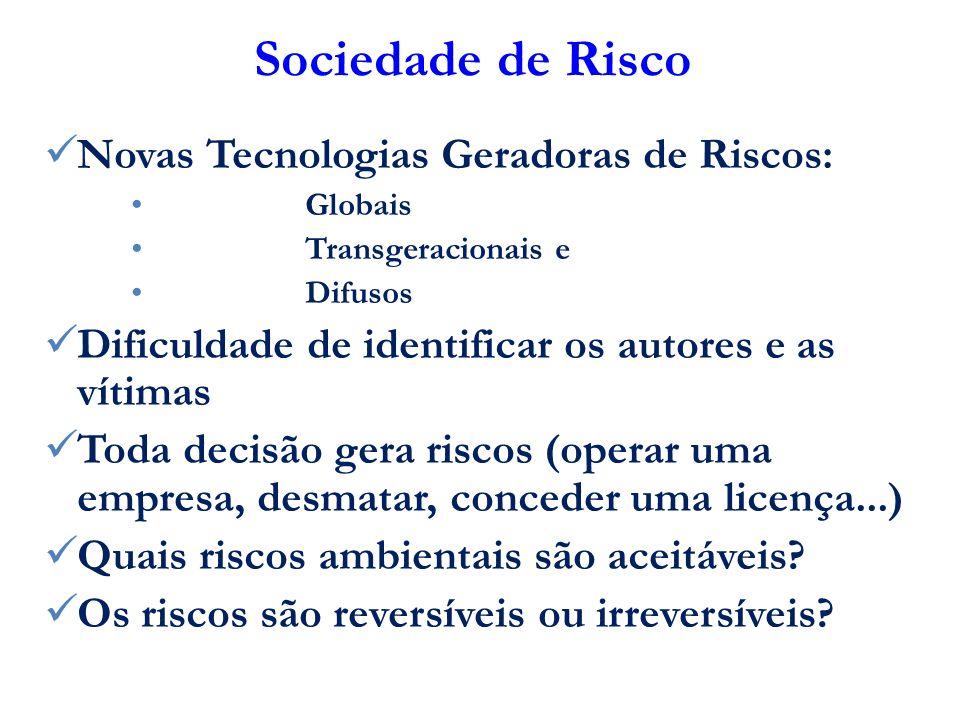 Sociedade de Risco Novas Tecnologias Geradoras de Riscos: Globais Transgeracionais e Difusos Dificuldade de identificar os autores e as vítimas Toda d