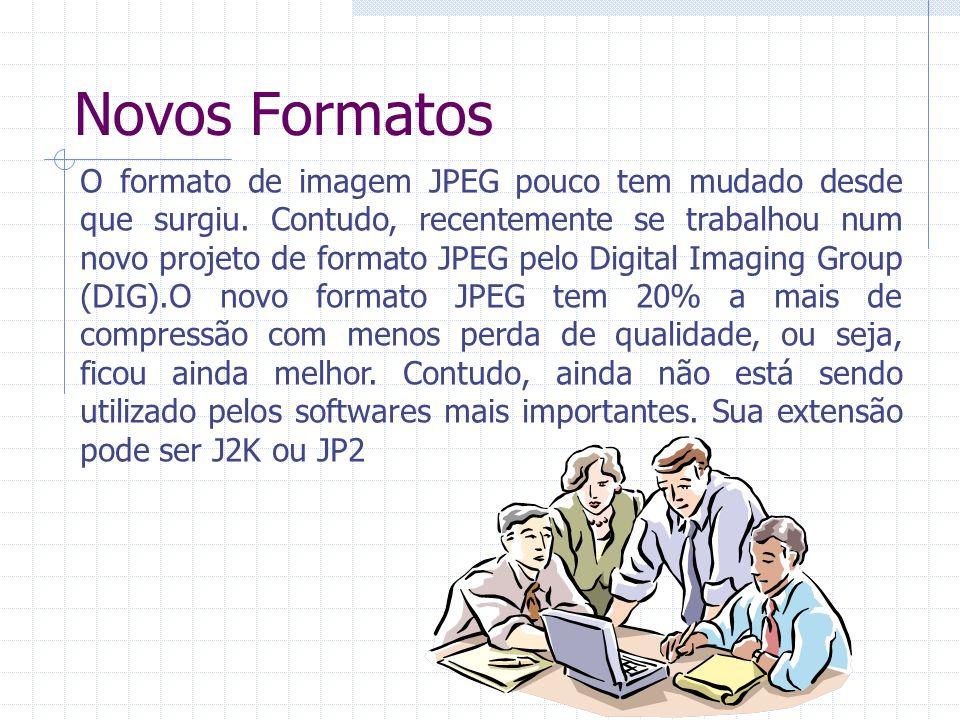 Novos Formatos O formato de imagem JPEG pouco tem mudado desde que surgiu. Contudo, recentemente se trabalhou num novo projeto de formato JPEG pelo Di