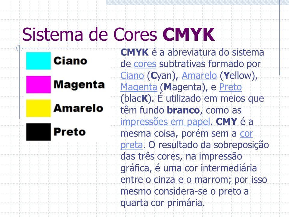 Sistema de Cores CMYK CMYK é a abreviatura do sistema de cores subtrativas formado por Ciano (Cyan), Amarelo (Yellow), Magenta (Magenta), e Preto (bla