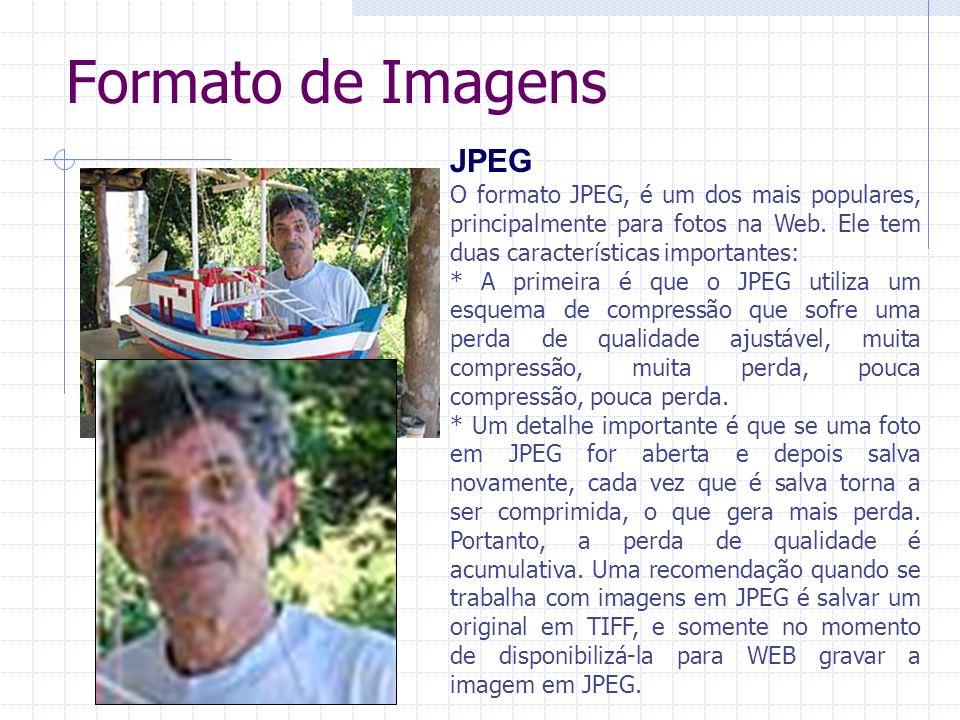 Formato de Imagens JPEG O formato JPEG, é um dos mais populares, principalmente para fotos na Web. Ele tem duas características importantes: * A prime