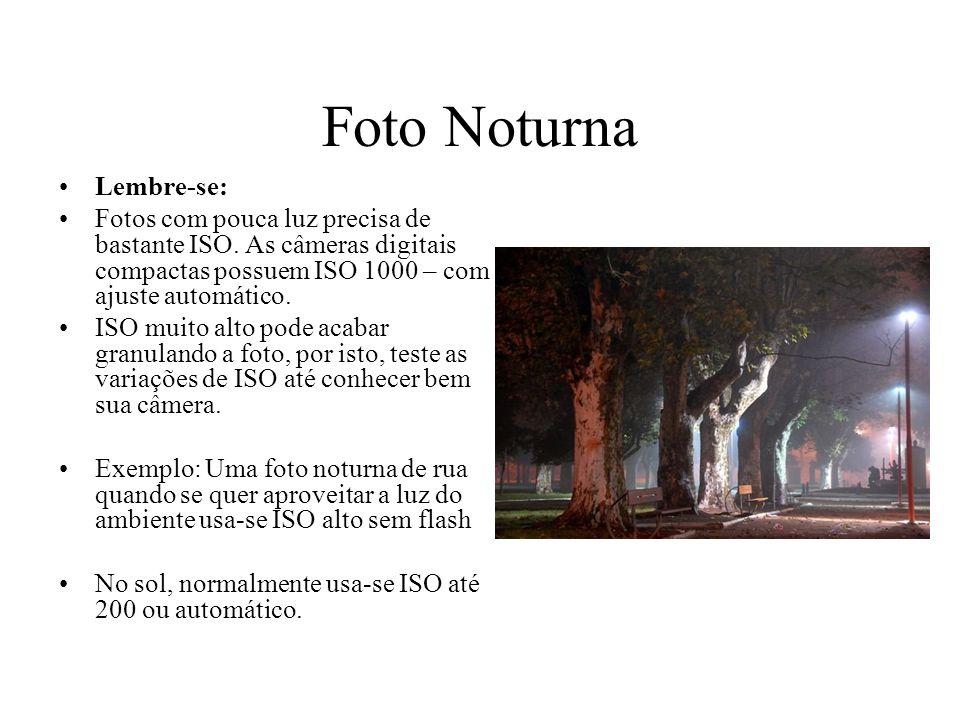 Foto Noturna Lembre-se: Fotos com pouca luz precisa de bastante ISO. As câmeras digitais compactas possuem ISO 1000 – com ajuste automático. ISO muito