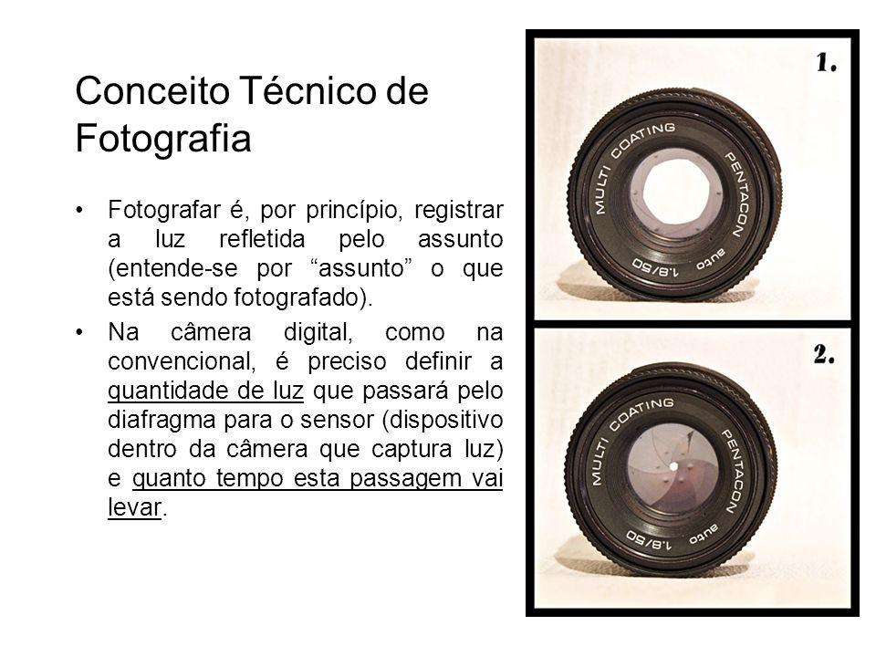 Conceito Técnico de Fotografia Fotografar é, por princípio, registrar a luz refletida pelo assunto (entende-se por assunto o que está sendo fotografad