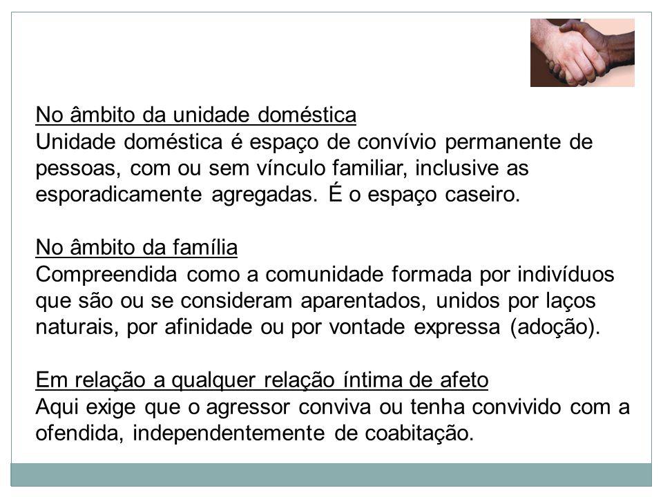 No âmbito da unidade doméstica Unidade doméstica é espaço de convívio permanente de pessoas, com ou sem vínculo familiar, inclusive as esporadicamente