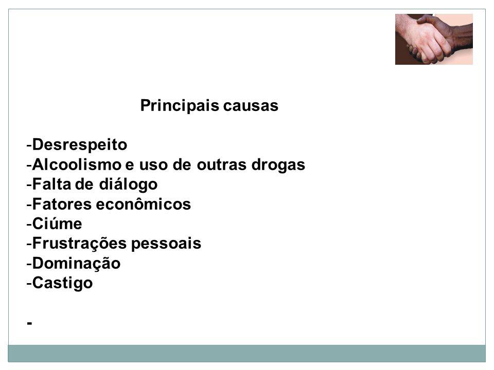 Principais causas -Desrespeito -Alcoolismo e uso de outras drogas -Falta de diálogo -Fatores econômicos -Ciúme -Frustrações pessoais -Dominação -Casti