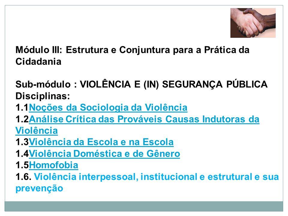 Módulo III: Estrutura e Conjuntura para a Prática da Cidadania Sub-módulo : VIOLÊNCIA E (IN) SEGURANÇA PÚBLICA Disciplinas: 1.1Noções da Sociologia da