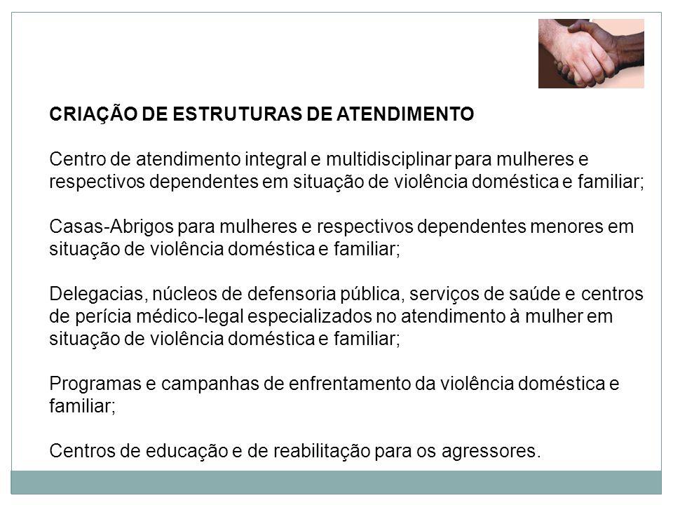 CRIAÇÃO DE ESTRUTURAS DE ATENDIMENTO Centro de atendimento integral e multidisciplinar para mulheres e respectivos dependentes em situação de violênci