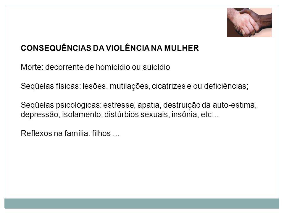 CONSEQUÊNCIAS DA VIOLÊNCIA NA MULHER Morte: decorrente de homicídio ou suicídio Seqüelas físicas: lesões, mutilações, cicatrizes e ou deficiências; Se