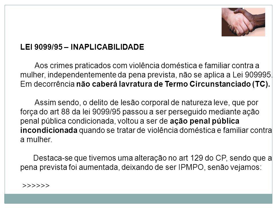 LEI 9099/95 – INAPLICABILIDADE Aos crimes praticados com violência doméstica e familiar contra a mulher, independentemente da pena prevista, não se ap
