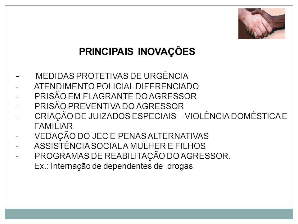 PRINCIPAIS INOVAÇÕES - MEDIDAS PROTETIVAS DE URGÊNCIA - ATENDIMENTO POLICIAL DIFERENCIADO - PRISÃO EM FLAGRANTE DO AGRESSOR - PRISÃO PREVENTIVA DO AGR