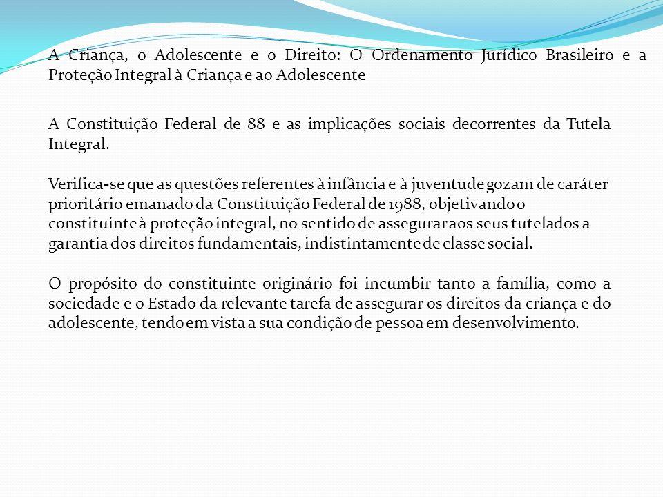 A Criança, o Adolescente e o Direito: O Ordenamento Jurídico Brasileiro e a Proteção Integral à Criança e ao Adolescente A Constituição Federal de 88 e as implicações sociais decorrentes da Tutela Integral.