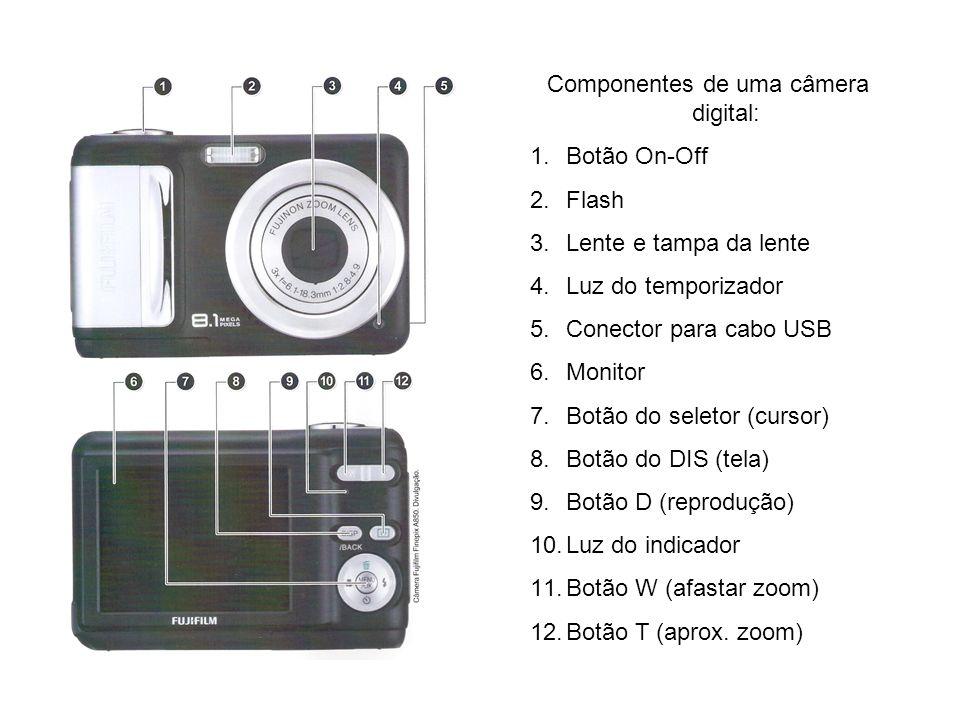Componentes de uma câmera digital: 1.Botão On-Off 2.Flash 3.Lente e tampa da lente 4.Luz do temporizador 5.Conector para cabo USB 6.Monitor 7.Botão do