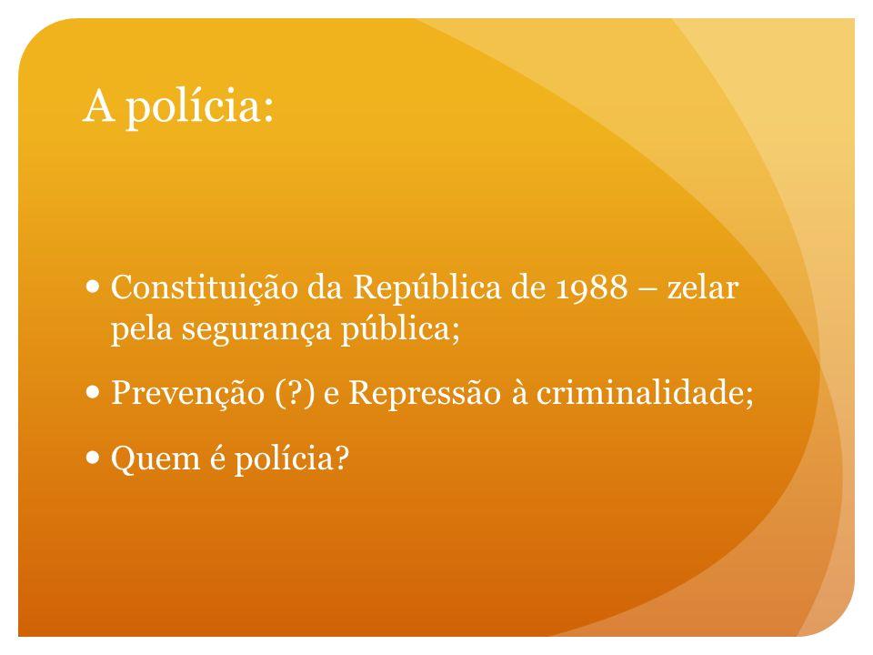 A polícia: Constituição da República de 1988 – zelar pela segurança pública; Prevenção (?) e Repressão à criminalidade; Quem é polícia?