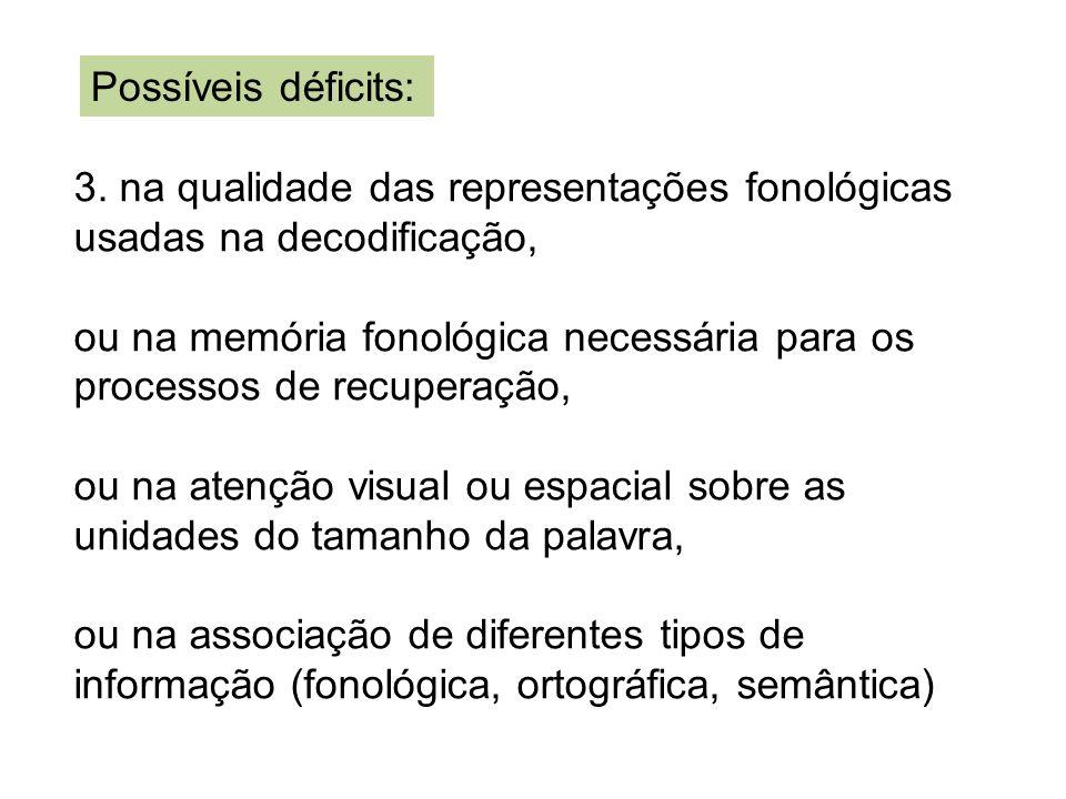3. na qualidade das representações fonológicas usadas na decodificação, ou na memória fonológica necessária para os processos de recuperação, ou na at