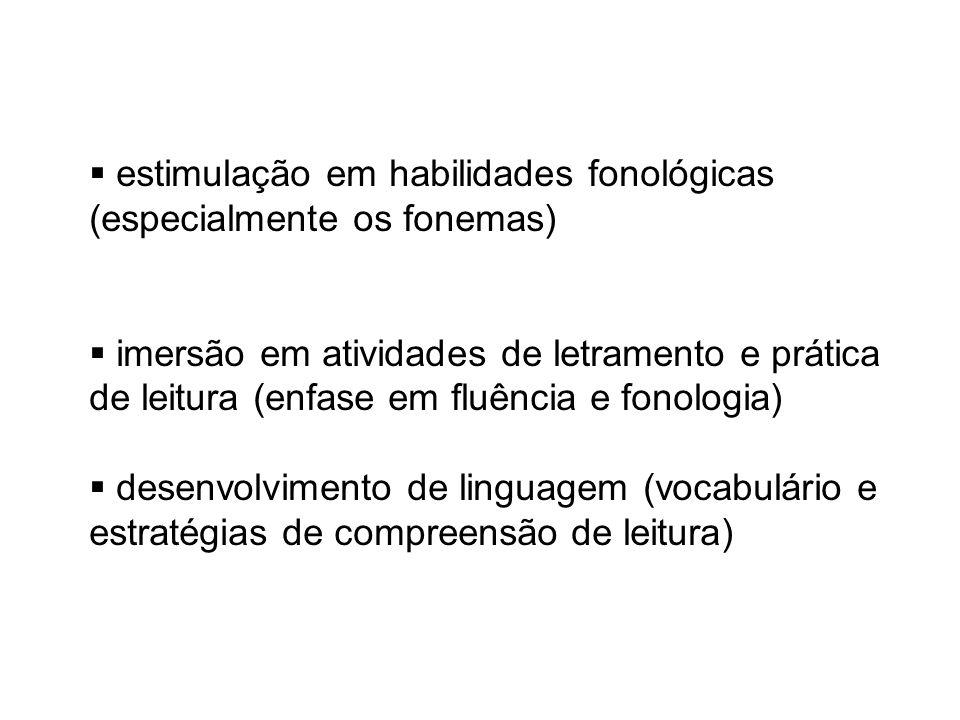 estimulação em habilidades fonológicas (especialmente os fonemas) imersão em atividades de letramento e prática de leitura (enfase em fluência e fonologia) desenvolvimento de linguagem (vocabulário e estratégias de compreensão de leitura)