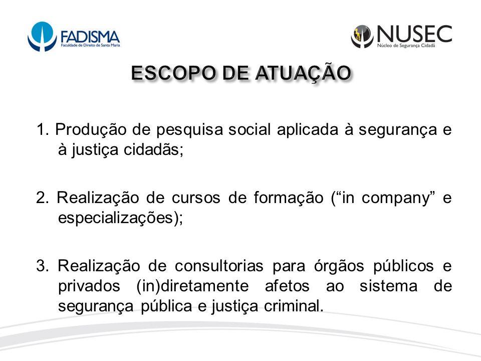 1. Produção de pesquisa social aplicada à segurança e à justiça cidadãs; 2. Realização de cursos de formação (in company e especializações); 3. Realiz