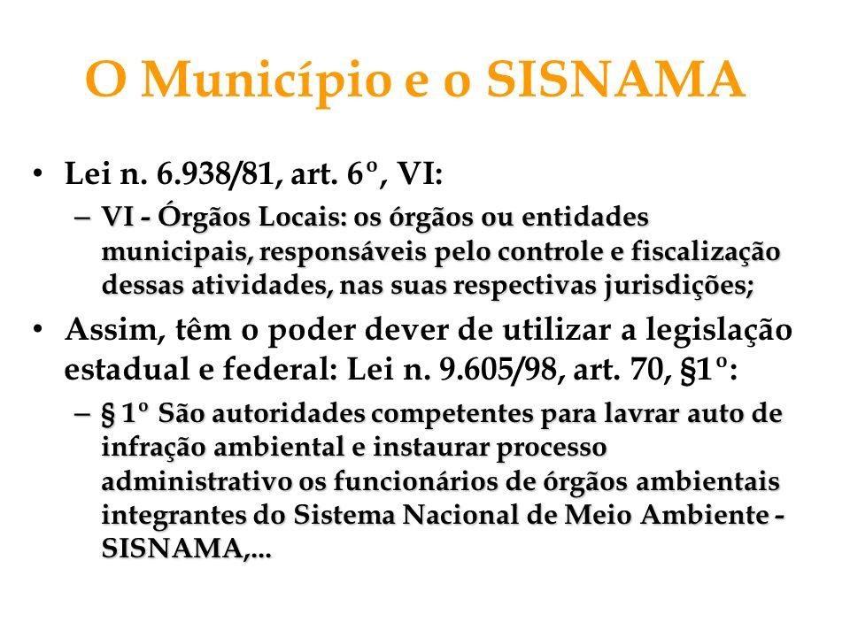 O Município e o SISNAMA Lei n. 6.938/81, art. 6º, VI: – VI - Órgãos Locais: os órgãos ou entidades municipais, responsáveis pelo controle e fiscalizaç