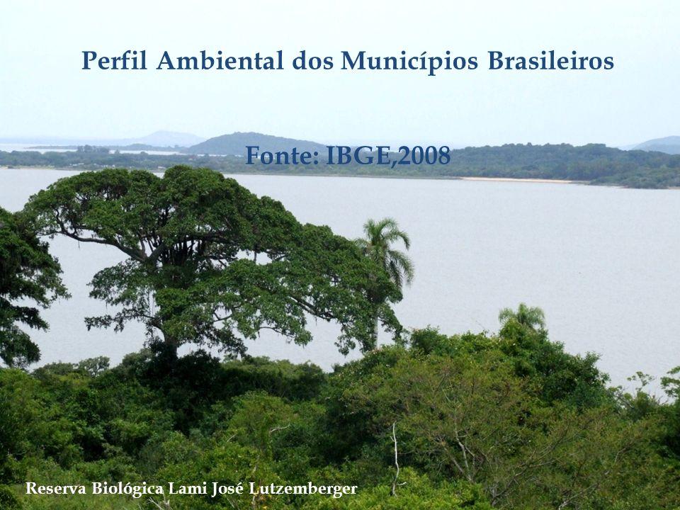 Perfil Ambiental dos Municípios Brasileiros Fonte: IBGE,2008 Reserva Biológica Lami José Lutzemberger