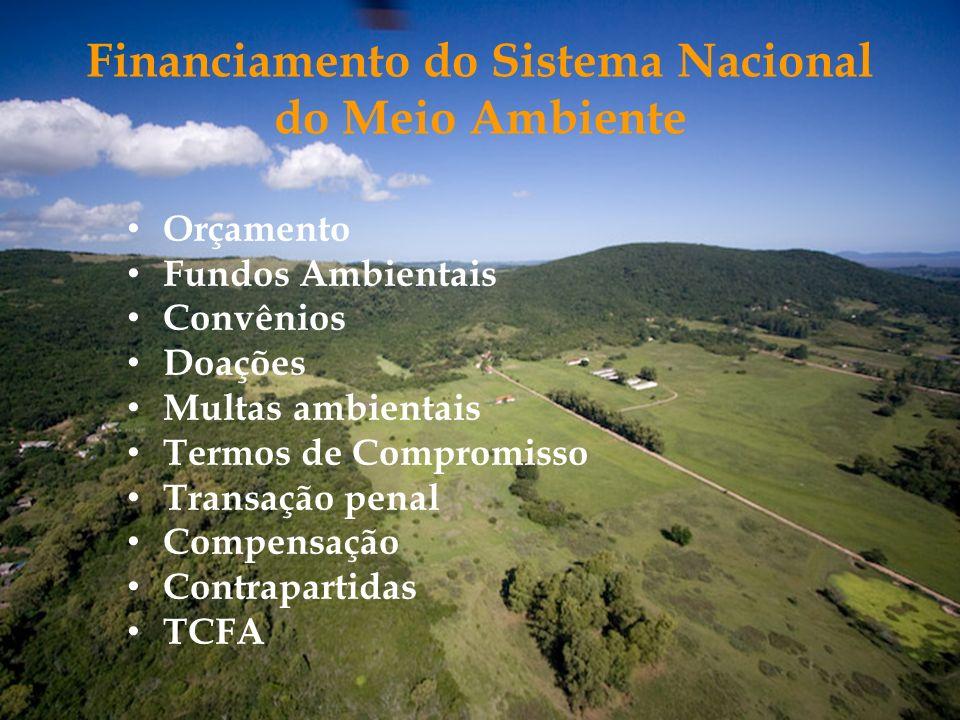 Financiamento do Sistema Nacional do Meio Ambiente Orçamento Fundos Ambientais Convênios Doações Multas ambientais Termos de Compromisso Transação pen