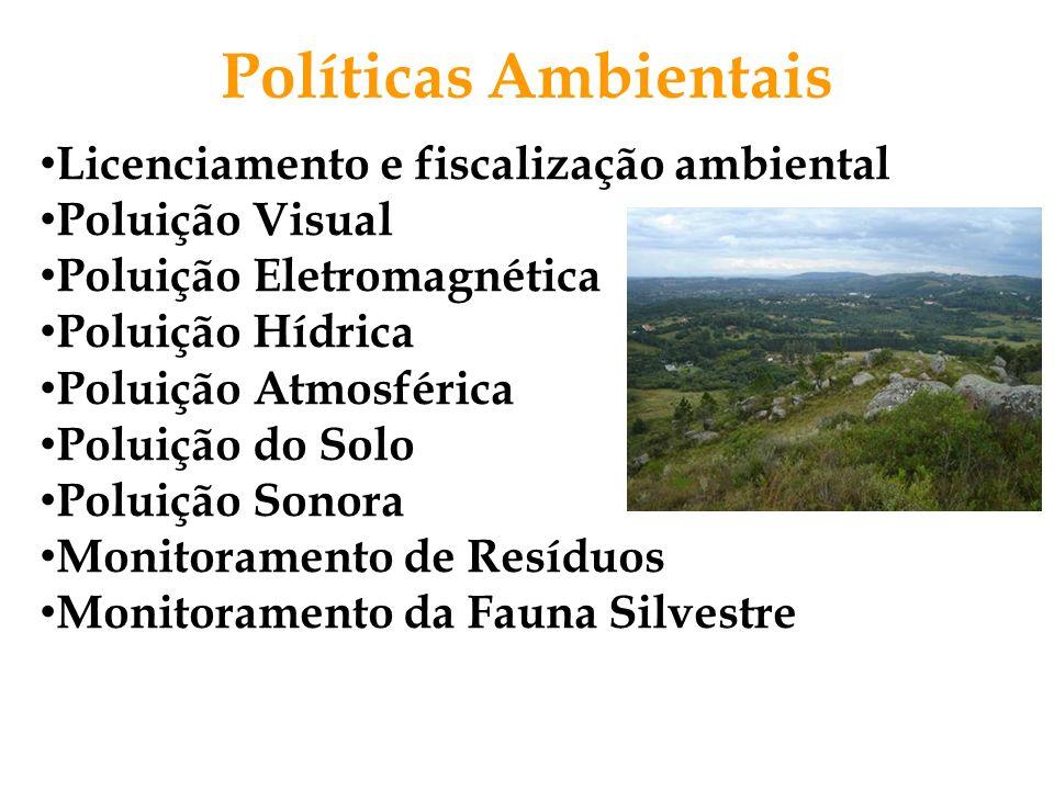 Licenciamento e fiscalização ambiental Poluição Visual Poluição Eletromagnética Poluição Hídrica Poluição Atmosférica Poluição do Solo Poluição Sonora