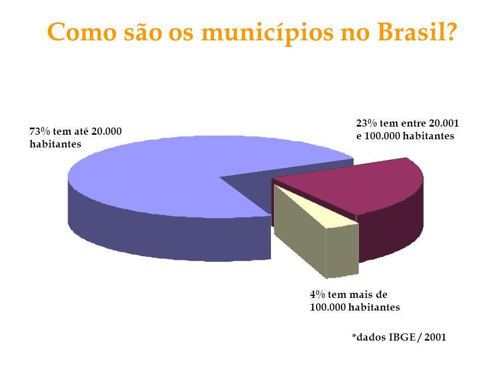 4% tem mais de 100.000 habitantes Como são os municípios no Brasil? 73% tem até 20.000 habitantes 23% tem entre 20.001 e 100.000 habitantes *dados IBG