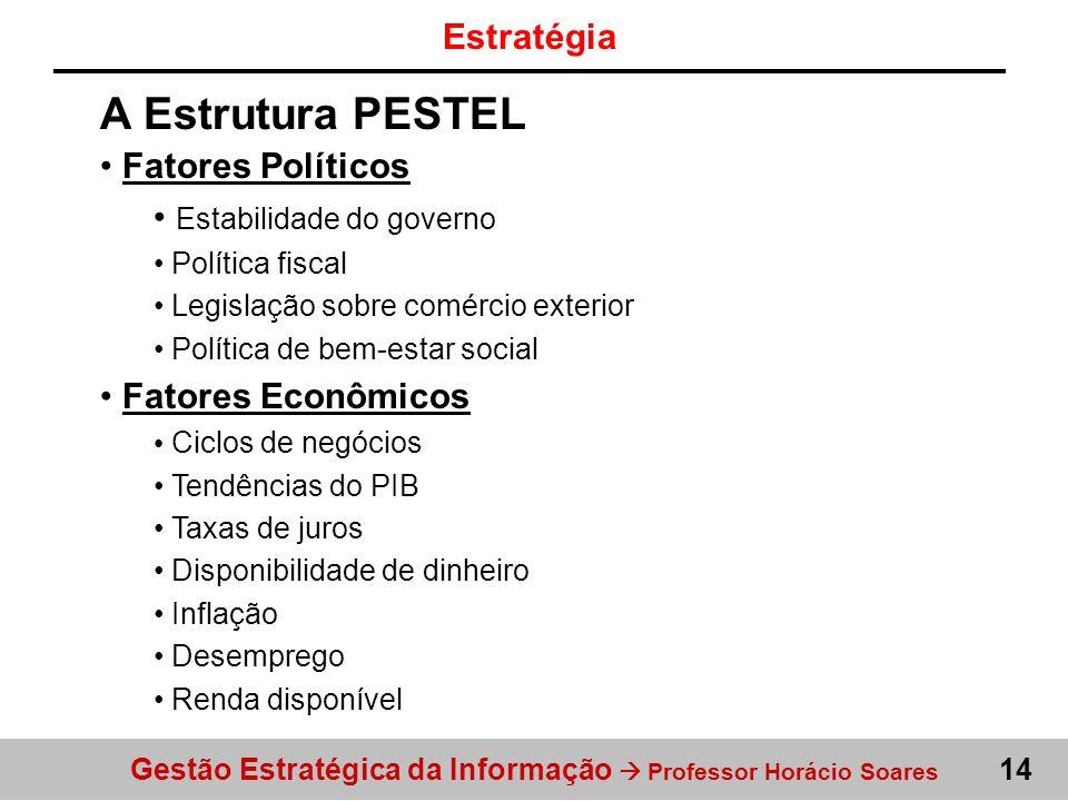 Gestão Estratégica da Informação Professor Horácio Soares 14 A Estrutura PESTEL Fatores Políticos Estabilidade do governo Política fiscal Legislação s