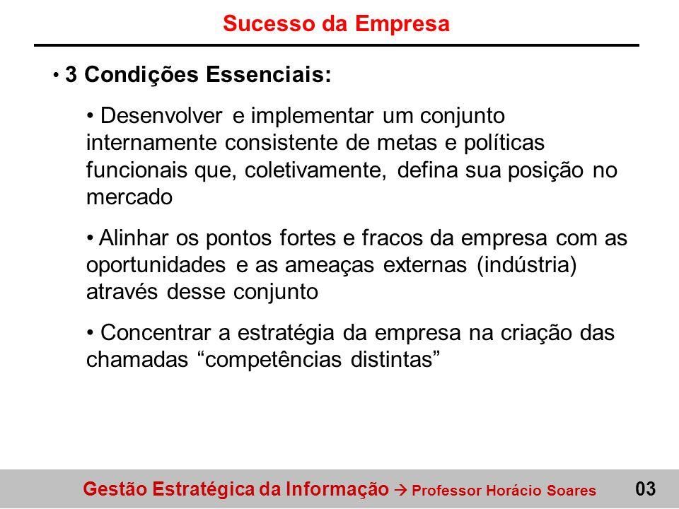Gestão Estratégica da Informação Professor Horácio Soares Sucesso da Empresa 03 3 Condições Essenciais: Desenvolver e implementar um conjunto internam