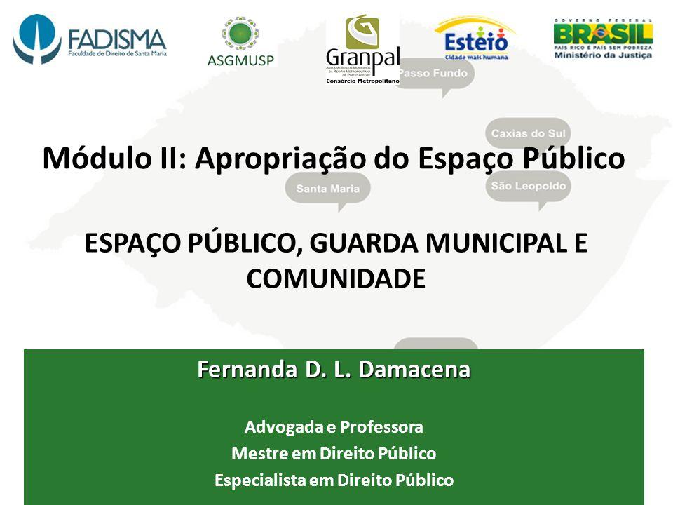 Módulo II: Apropriação do Espaço Público ESPAÇO PÚBLICO, GUARDA MUNICIPAL E COMUNIDADE Fernanda D. L. Damacena Advogada e Professora Mestre em Direito