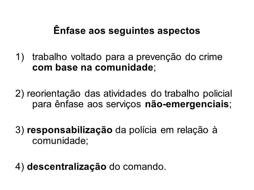 Ênfase aos seguintes aspectos 1)trabalho voltado para a prevenção do crime com base na comunidade; 2) reorientação das atividades do trabalho policial