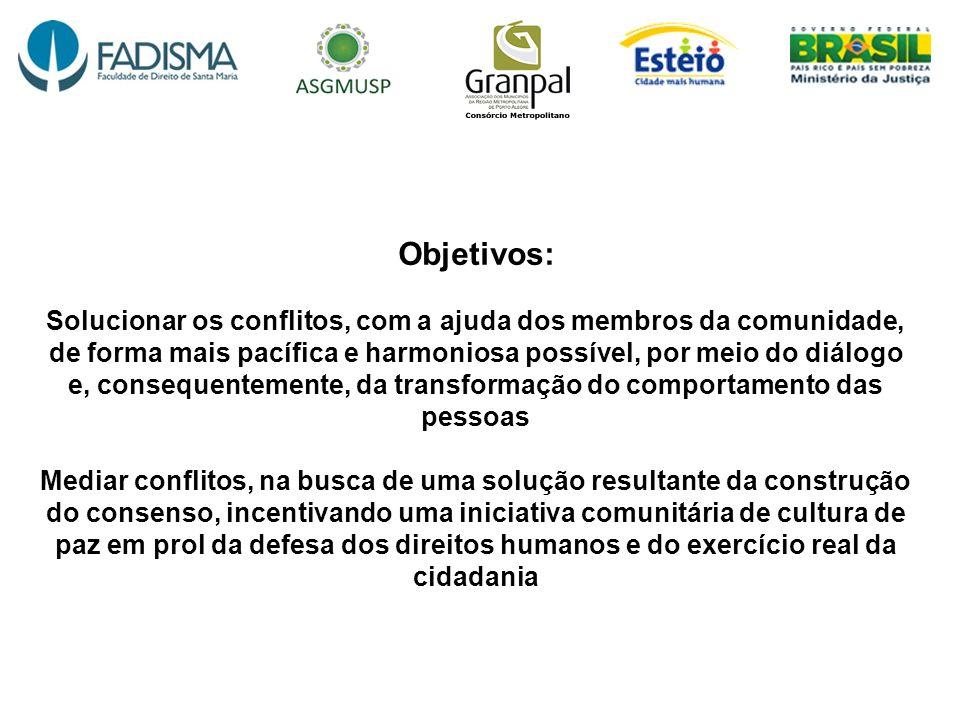 Objetivos: Solucionar os conflitos, com a ajuda dos membros da comunidade, de forma mais pacífica e harmoniosa possível, por meio do diálogo e, conseq