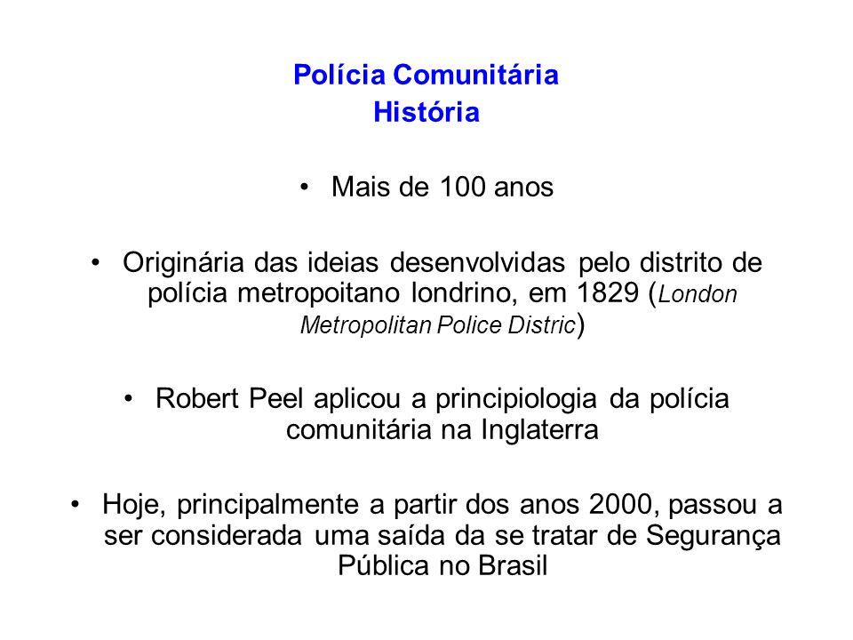 Polícia Comunitária História Mais de 100 anos Originária das ideias desenvolvidas pelo distrito de polícia metropoitano londrino, em 1829 ( London Met