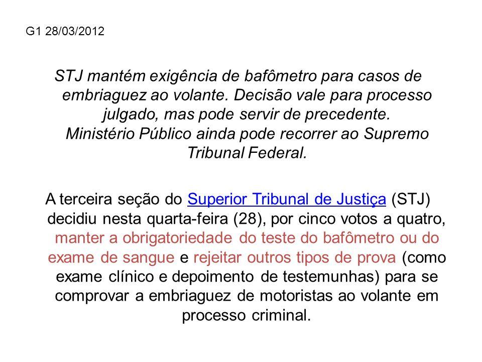 G1 28/03/2012 STJ mantém exigência de bafômetro para casos de embriaguez ao volante. Decisão vale para processo julgado, mas pode servir de precedente