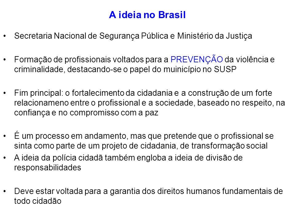 A ideia no Brasil Secretaria Nacional de Segurança Pública e Ministério da Justiça Formação de profissionais voltados para a PREVENÇÃO da violência e