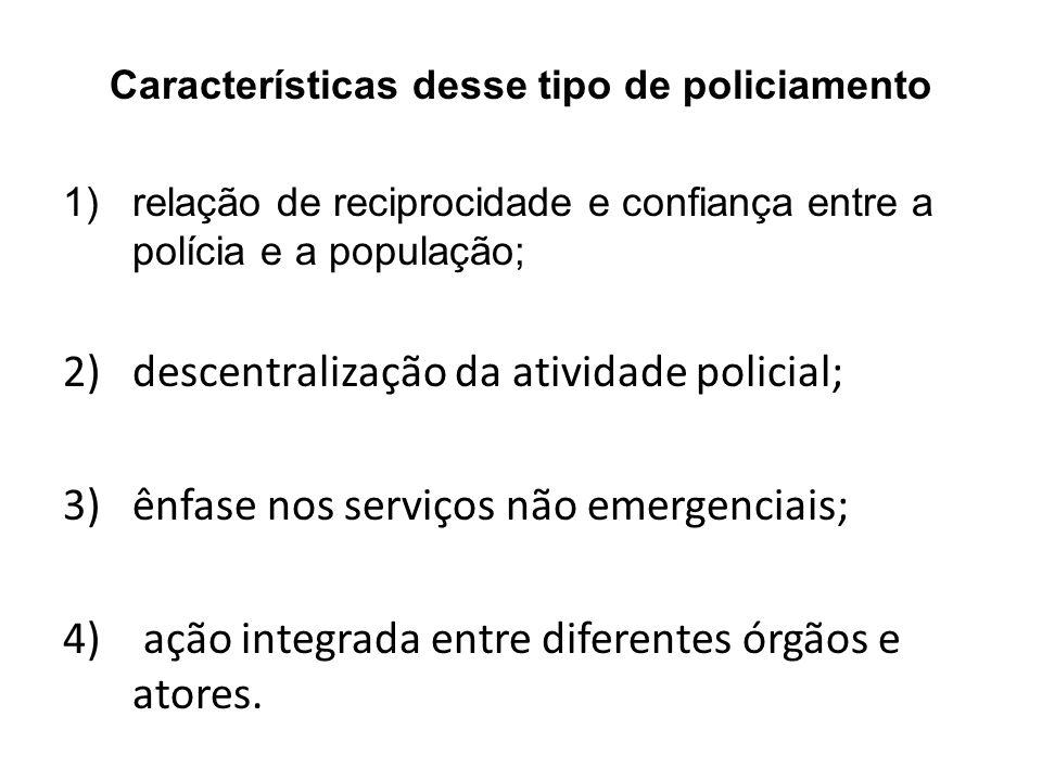 Características desse tipo de policiamento 1)relação de reciprocidade e confiança entre a polícia e a população; 2)descentralização da atividade polic